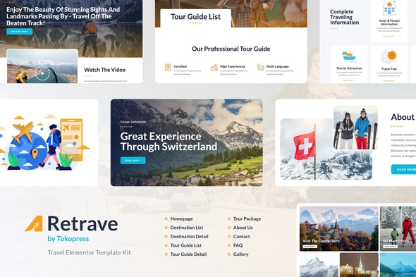 Retrave | Travel Elementor Template Kit - Travel & Accomodation Elementor