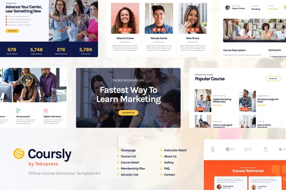 Coursly | Offline Course Elementor Template Kit - Education Elementor