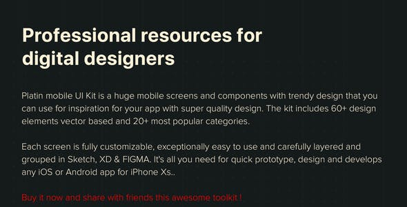 PLATIN - Multipurpose UI Kit for Adobe XD
