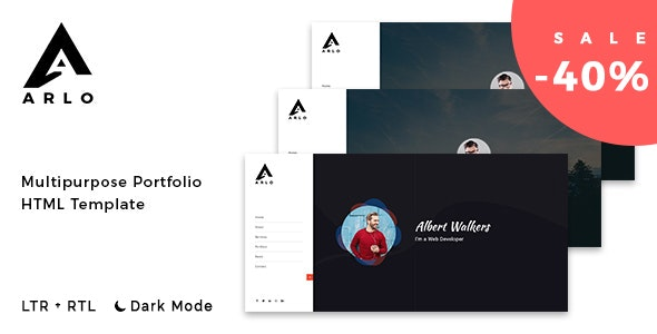 Arlo - Personal / Portfolio / Resume Template + RTL - Virtual Business Card Personal
