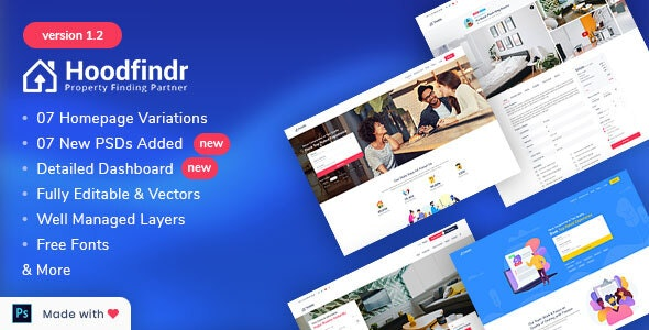 Hoodfindr - Property Booking PSD Template - Corporate Photoshop