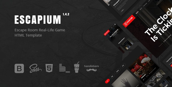 Escapium - Escape Room Game HTML Template - Entertainment Site Templates