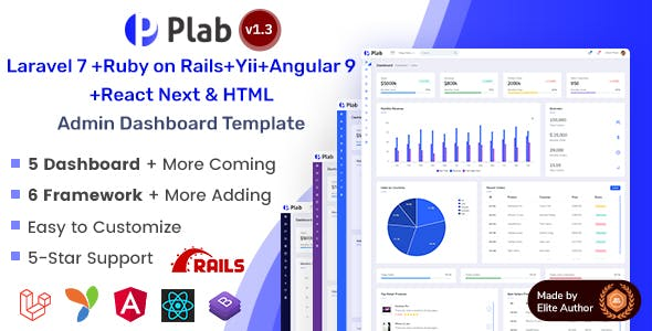 Plab | Multi-Framework Admin Dashboard Template