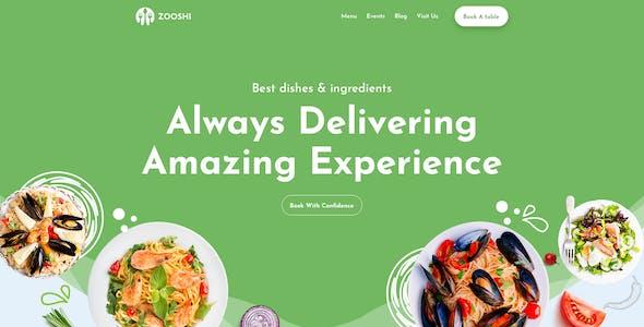 Zooshi- Restaurent Landing Page PSD Template