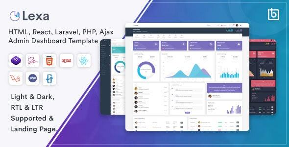 Lexa - Bootstrap 4, React, Laravel, Ajax & PHP Admin Dashboard Template - Admin Templates Site Templates