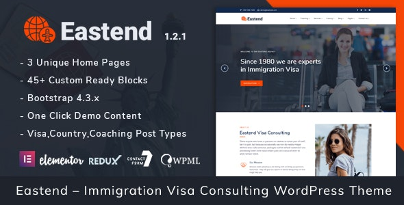 Eastend – Immigration Visa Consulting WordPress Theme - Business Corporate