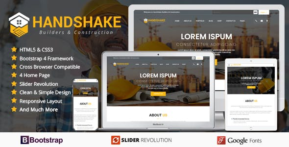 Handshake Builders & Construction Company - HTML Template
