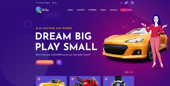 Rifa - Online Lotto & Lottery PSD Template