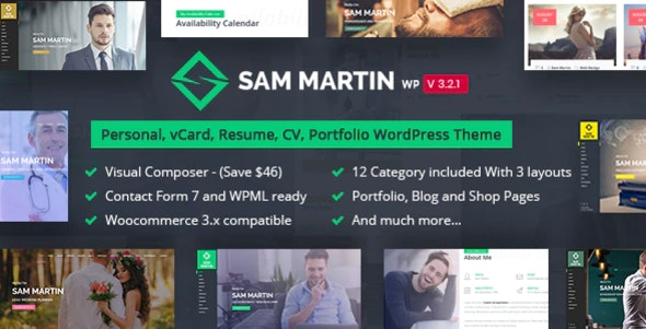 Sam Martin - Personal vCard Resume WordPress Theme - Portfolio Creative