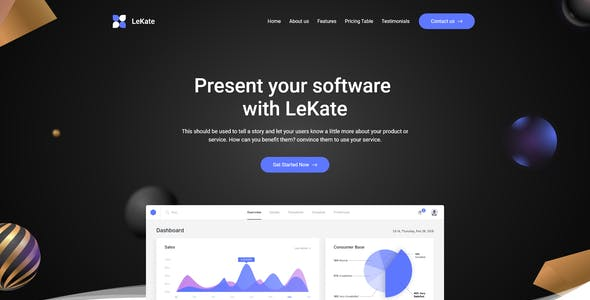 LeKate - Saas and Software Adobe XD Landing Page Template
