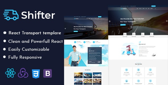 Shifter – Transport and Logistics React Template - Business Corporate