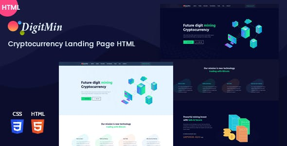 DigitMin - Bitcoin & Cryptocurrency HTML Template