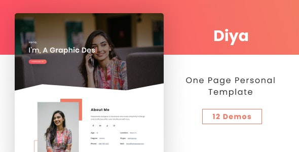 Diya - One Page Personal Template - Personal Site Templates