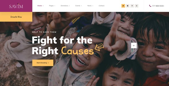Savim - Charity NonProfit PSD Template