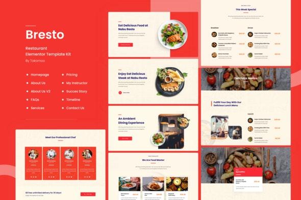 Bresto | Restaurant & Cafe Food Elementor Template Kit - Food & Drink Elementor