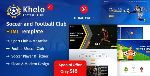 Khelo - Soccer & Football Club Bootstrap 4 HTML Template - Entertainment Site Templates