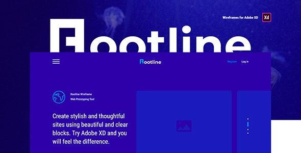 Rootline – Wireframe Web UI Kit - Adobe XD UI Templates