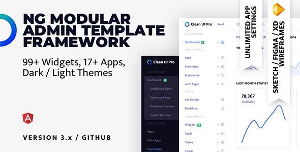 Clean UI Pro Angular — Modular Multi Concept Admin Template - Admin Templates Site Templates