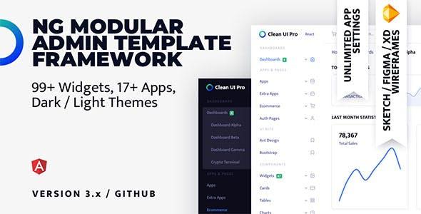 Clean UI Pro Angular — Modular Multi Concept Admin Template