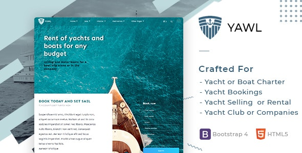 Yawl - Yacht Marine Charter Selling Booking Template - Site Templates
