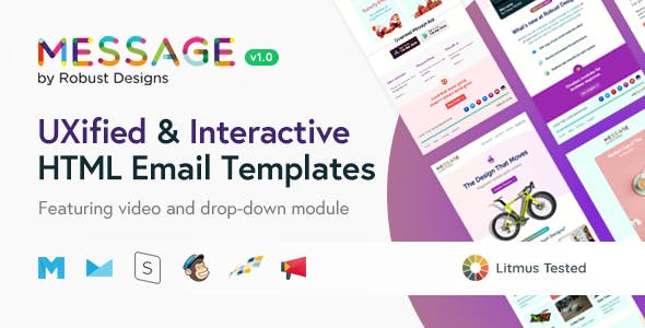 Message - Responsive Email Templates for SaaS Startups + Robust Editor