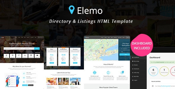 Elemo - Directory & Listings HTML Template - Business Corporate