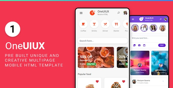 Oneuiux Creative Multipurpose Mobile App UI UX HTML Template - Mobile Site Templates