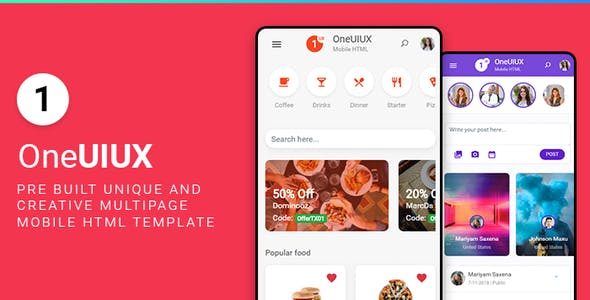Download Oneuiux Creative Multipurpose Mobile App UI UX HTML Template