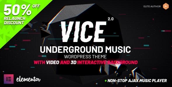 Vice: Underground Music Elementor WordPress Theme - Music and Bands Entertainment