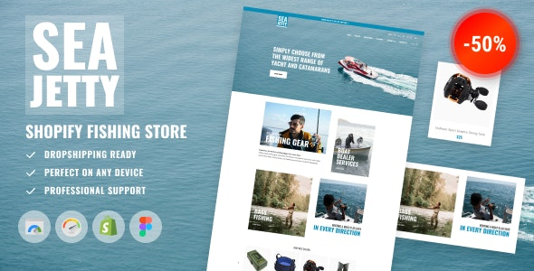 Shopify Fishing Store Template - Marine Lures, Boat Dealer, Sailing and Yacht - Shopping Shopify
