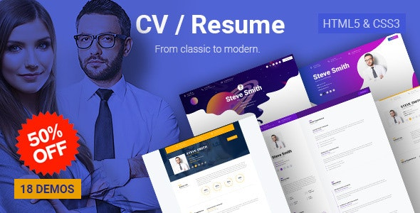 Business CV - HTML5 Online Resume & Personal Portfolio - Resume / CV Specialty Pages