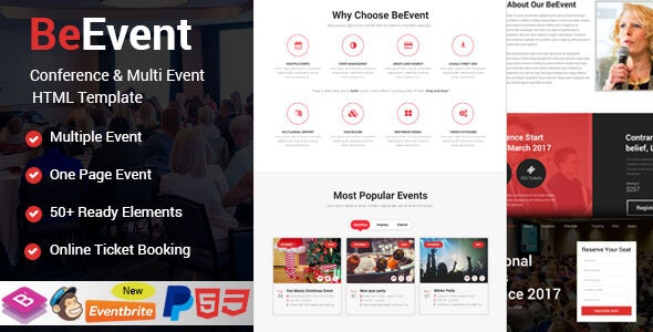 BeEvent - Conference & Multi Event HTML Template - Events Entertainment