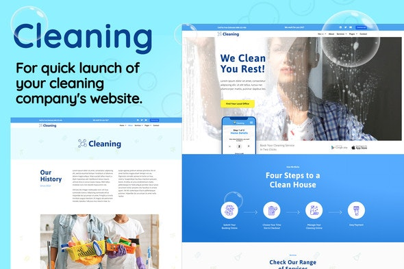 Cleaning - Small Business Template Kit - Business & Services Elementor