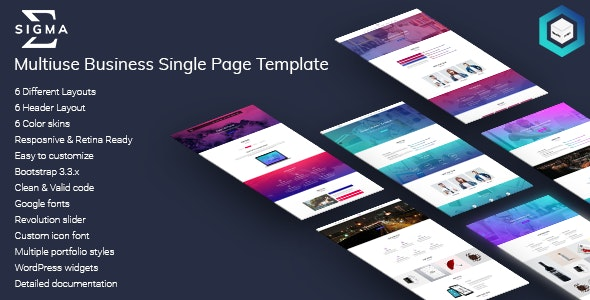 Sigma - Multiuse Business Single Page HTML5 Template - Business Corporate