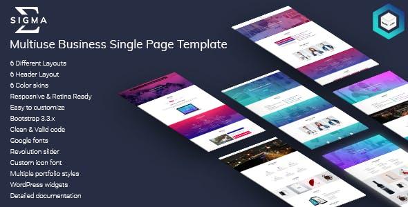 Sigma - Multiuse Business Single Page HTML5 Template