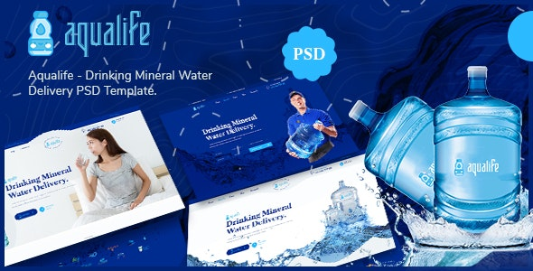 Aqualife - Drinking Mineral Water Delivery PSD Template - Retail Photoshop
