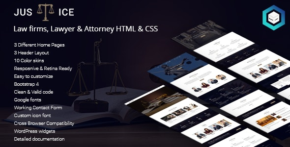 Justice - Law firms, Lawyer & Attorney HTML5 & CSS3 Template - Corporate Site Templates