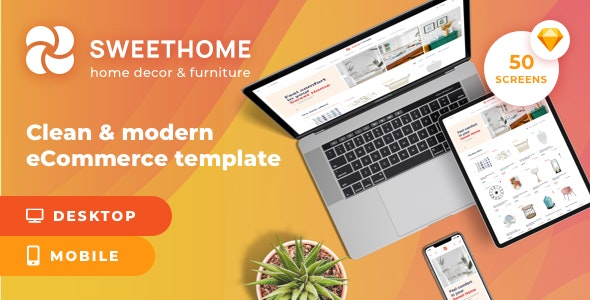 SweetHome – eCommerce Sketch Template - Shopping Retail