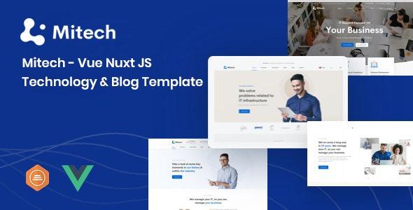 Mitech Vue Nuxt JS Technology & Blog Template