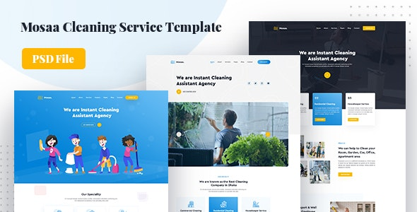 Mosaa - Creative Cleaning Service PSD Template - Business Corporate