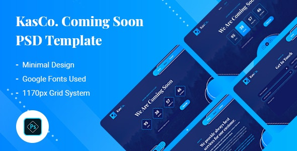 KasCo - Coming Soon PSD Template - Corporate Photoshop