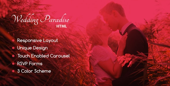 Wedding Paradise – Responsive HTML Template - Wedding Site Templates