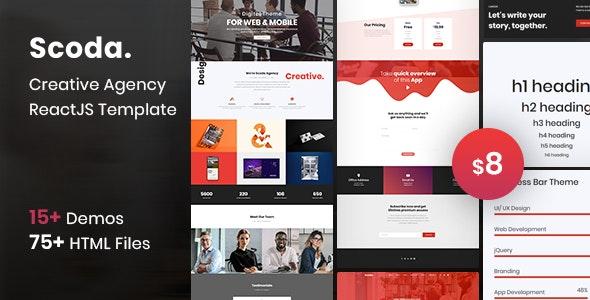 Scoda - Multipurpose One Page ReactJs Template - Creative Site Templates