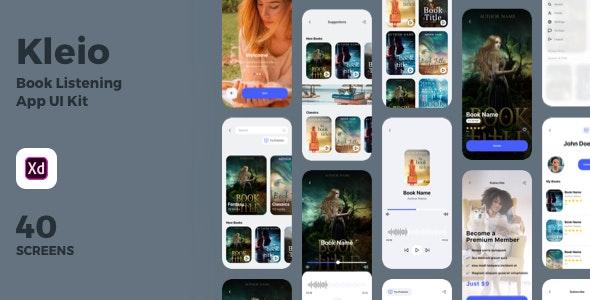 Kleio - Book Listening App UI Kit - Adobe XD UI Templates