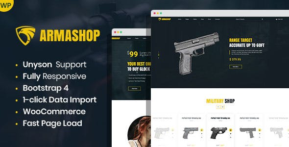 Download Armashop - Guns and Ammo WooCommerce theme