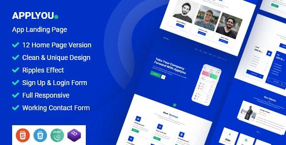 Applyou - App Landing Page HTML Template - Software Technology