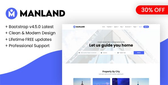 Manland - Bootstrap Light Real Estate HTML Template