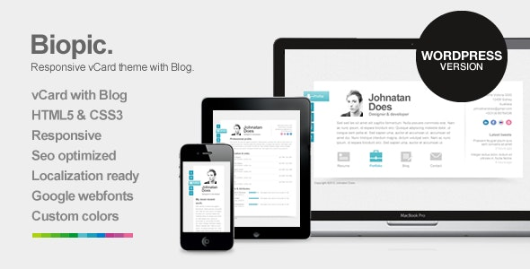 Biopic - Responsive vCard WordPress Theme - Portfolio Creative