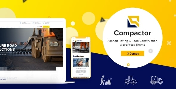 Compactor - Road Construction WordPress Theme - Business Corporate