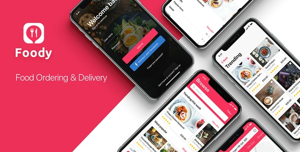 Foody mobile App UI Kit for Adobe XD - Adobe XD UI Templates